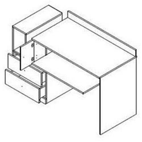 Стол письменный BIU/130 Моби (Нимфея альба-Дубсонома) - Мебельный интернет-магазин Sensey-mebel приобрести