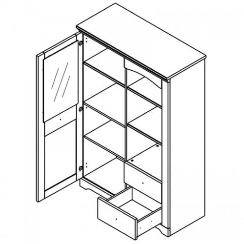 Витрина REG1W2S Патрик (Аляска) - Мебельный интернет-магазин Sensey-mebel приобрести