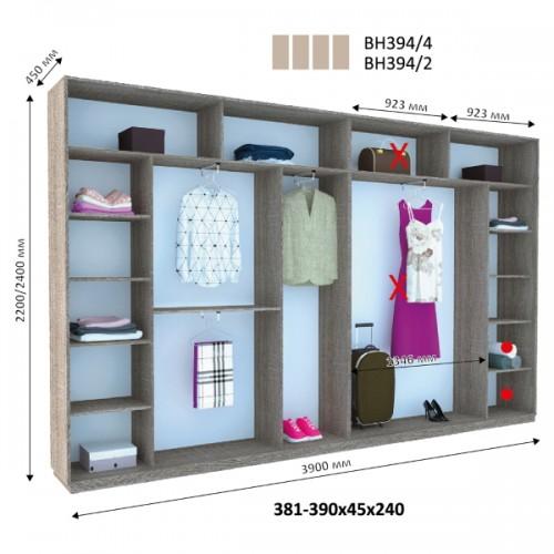 Шкаф купе ВН-394 (Виват) - Мебельный интернет-магазин Sensey-mebel приобрести