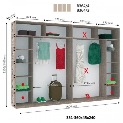 4-х дверный Шкаф Купе В-364 (Виват) - Мебельный интернет-магазин Sensey-mebel приобрести