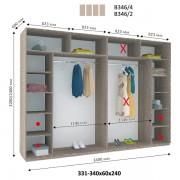 4-х дверный Шкаф Купе В-346 (Виват)