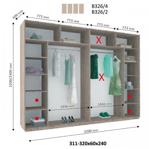 4-х дверный Шкаф Купе В-326 (Виват) - Мебельный интернет-магазин Sensey-mebel приобрести