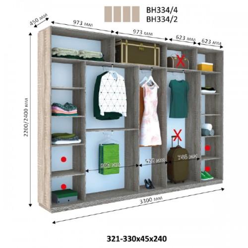 Шкаф купе ВН-334 (Виват) - Мебельный интернет-магазин Sensey-mebel приобрести