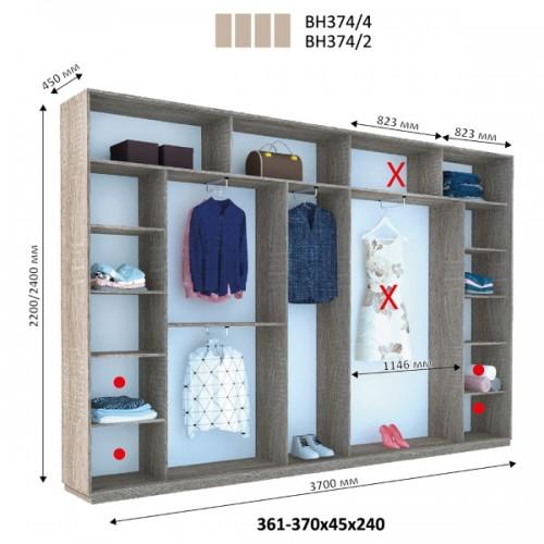 Шкаф купе ВН-374 (Виват) - Мебельный интернет-магазин Sensey-mebel приобрести