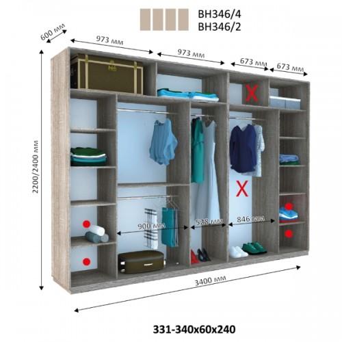 Шкаф купе ВН-346 (Виват) - Мебельный интернет-магазин Sensey-mebel приобрести