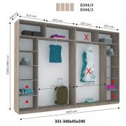 4-х дверный Шкаф Купе В-344 (Виват)
