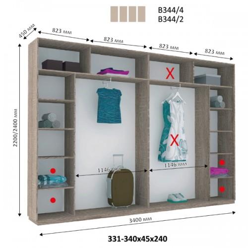 4-х дверный Шкаф Купе В-344 (Виват) - Мебельный интернет-магазин Sensey-mebel приобрести