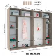 4-х дверный Шкаф Купе В-324 (Виват)