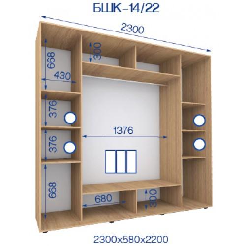 Трехдверный Шкаф Купе (Бюджет) BHK-14/22 - Мебельный интернет-магазин Sensey-mebel приобрести