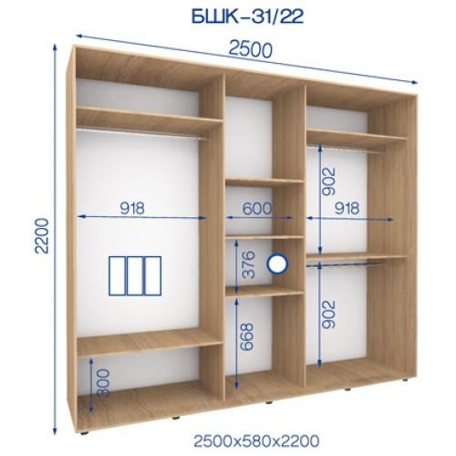 Трехдверный Шкаф Купе (Бюджет) BHK-31/22 - Мебельный интернет-магазин Sensey-mebel приобрести