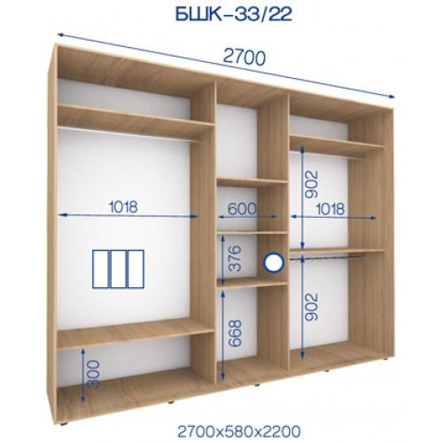 Трехдверный Шкаф Купе (Бюджет) BHK-33/22 - Мебельный интернет-магазин Sensey-mebel приобрести
