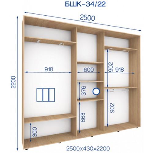 Трехдверный Шкаф Купе (Бюджет) BHK-34/22 - Мебельный интернет-магазин Sensey-mebel приобрести