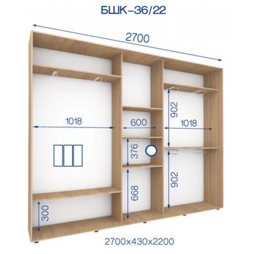 Трехдверный Шкаф Купе (Бюджет) BHK-36/22 - Мебельный интернет-магазин Sensey-mebel приобрести