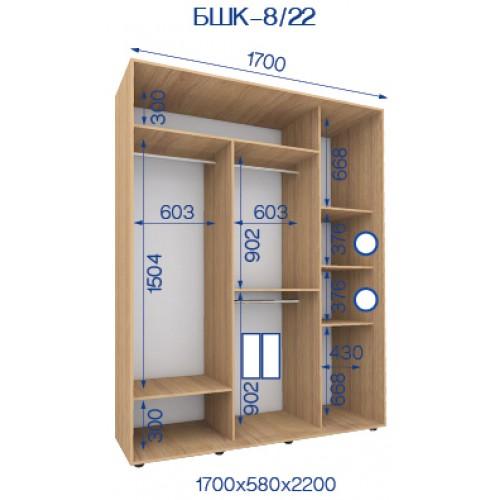 Двухдверный Шкаф Купе (Бюджет) BHK-8/22 - Мебельный интернет-магазин Sensey-mebel приобрести