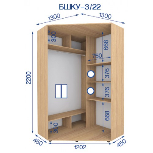 Шкаф купе угловой BHKU-3/22 (Бюджет) - Мебельный интернет-магазин Sensey-mebel приобрести
