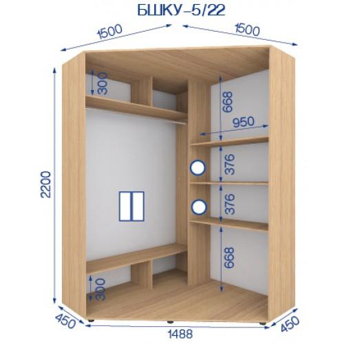 Шкаф купе угловой BHKU-5/22 (Бюджет) - Мебельный интернет-магазин Sensey-mebel приобрести
