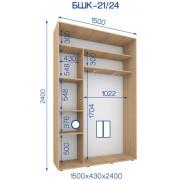 Двухдверный Шкаф Купе (Бюджет) BHK-21/24