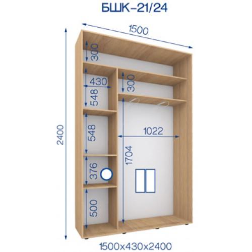 Двухдверный Шкаф Купе (Бюджет) BHK-21/24 - Мебельный интернет-магазин Sensey-mebel приобрести