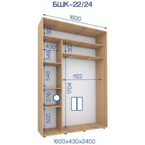 Двухдверный Шкаф Купе (Бюджет) BHK-22/24 - Мебельный интернет-магазин Sensey-mebel приобрести