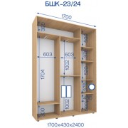 Двухдверный Шкаф Купе (Бюджет) BHK-23/24