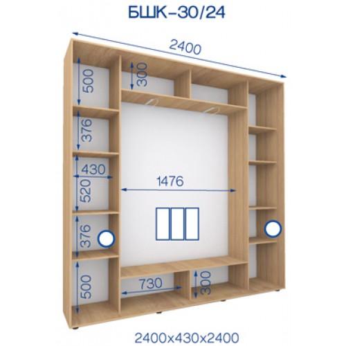Трехдверный Шкаф Купе (Бюджет) BHK-30/24 - Мебельный интернет-магазин Sensey-mebel приобрести