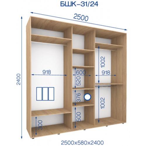 Трехдверный Шкаф Купе (Бюджет) BHK-31/24 - Мебельный интернет-магазин Sensey-mebel приобрести
