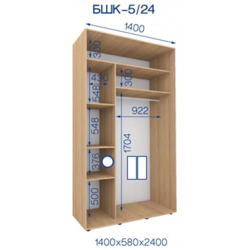 Двухдверный Шкаф Купе (Бюджет) BHK-5/24 - Мебельный интернет-магазин Sensey-mebel приобрести