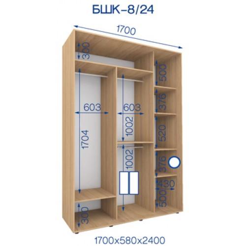 Двухдверный Шкаф Купе (Бюджет) BHK-8/24 - Мебельный интернет-магазин Sensey-mebel приобрести