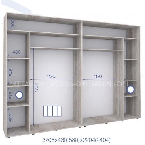 Шкаф купе PHK-320/43/2204-01-4F (Престиж) - Мебельный интернет-магазин Sensey-mebel приобрести