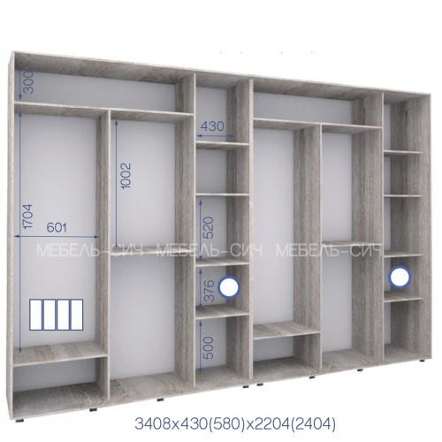 Шкаф купе PHK-340/43/2204-01-4F (Престиж) - Мебельный интернет-магазин Sensey-mebel приобрести