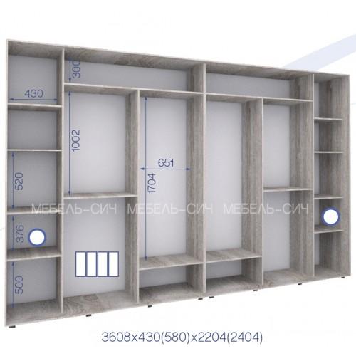 Шкаф купе PHK-360/43/2204-01-4F (Престиж) - Мебельный интернет-магазин Sensey-mebel приобрести