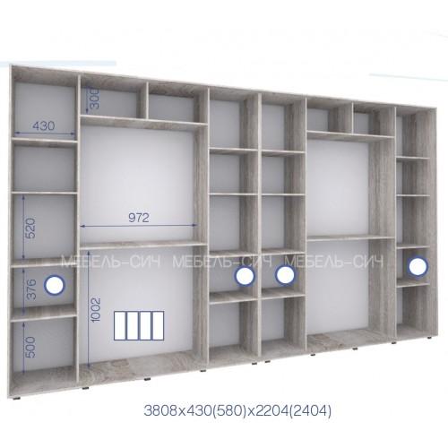 Шкаф купе PHK-380/58/2204-01-4F (Престиж) - Мебельный интернет-магазин Sensey-mebel приобрести