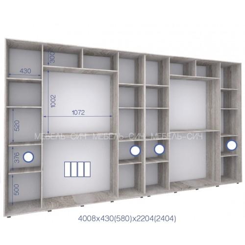 Шкаф купе PHK-400/43/2404-01-4F (Престиж) - Мебельный интернет-магазин Sensey-mebel приобрести