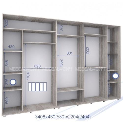 Шкаф купе PHK-340/58/2404-02-5F (Престиж) - Мебельный интернет-магазин Sensey-mebel приобрести