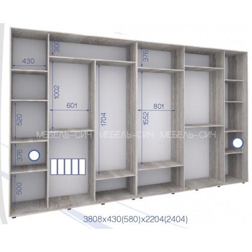 Шкаф купе PHK-380/43/2204-02-5F (Престиж) - Мебельный интернет-магазин Sensey-mebel приобрести
