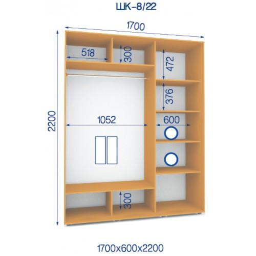 Двухдверный Шкаф Купе (Стандарт) HK-8/22 - Мебельный интернет-магазин Sensey-mebel приобрести