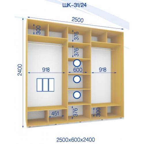 Трехдверный Шкаф Купе (Стандарт) HK-31/24 - Мебельный интернет-магазин Sensey-mebel приобрести