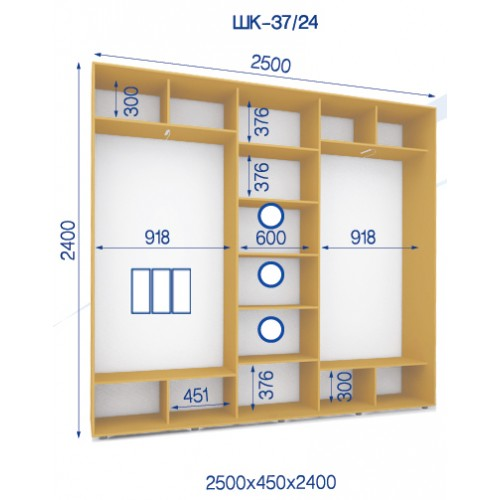 Трехдверный Шкаф Купе (Стандарт) HK-37/24 - Мебельный интернет-магазин Sensey-mebel приобрести