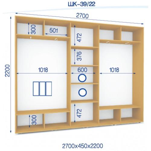 Трехдверный Шкаф Купе (Стандарт) HK-39/22 - Мебельный интернет-магазин Sensey-mebel приобрести