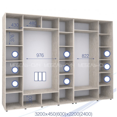 Трехдверный Шкаф Купе (Стандарт 3) HK-320/60/2200-03-3F - Мебельный интернет-магазин Sensey-mebel приобрести