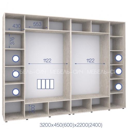 Шкаф купе HK-320/60/2200-01-4F (Стандарт) - Мебельный интернет-магазин Sensey-mebel приобрести