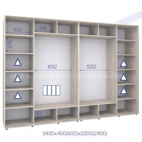 Шкаф купе HK-340/60/2200-01-4F (Стандарт) - Мебельный интернет-магазин Sensey-mebel приобрести