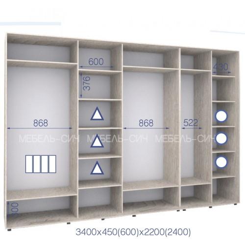 Шкаф купе HK-340/60/2200-03-4F (Стандарт) - Мебельный интернет-магазин Sensey-mebel приобрести