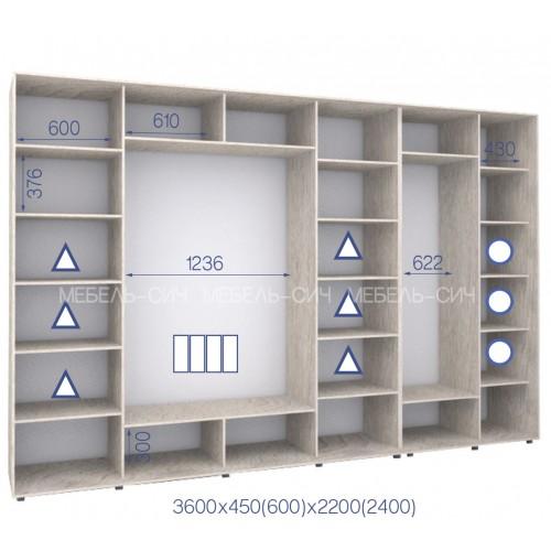 Шкаф купе HK-360/45/2400-03-4F (Стандарт) - Мебельный интернет-магазин Sensey-mebel приобрести