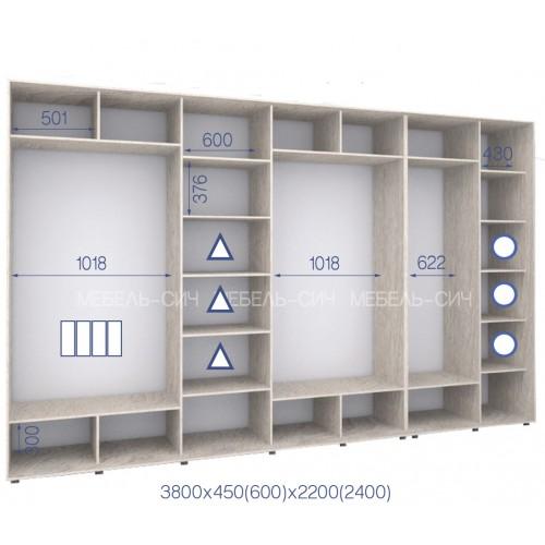 Шкаф купе HK-380/60/2200-02-4F (Стандарт) - Мебельный интернет-магазин Sensey-mebel приобрести