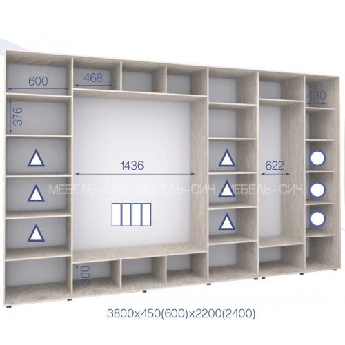 Шкаф купе HK-380/60/2400-03-4F (Стандарт) - Мебельный интернет-магазин Sensey-mebel приобрести