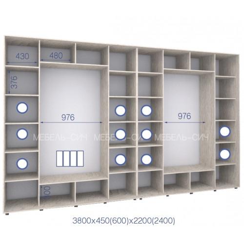 Шкаф купе HK-380/45/2200-04-4F (Стандарт) - Мебельный интернет-магазин Sensey-mebel приобрести