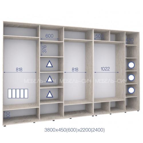 Шкаф купе HK-380/45/2200-01-5F (Стандарт) - Мебельный интернет-магазин Sensey-mebel приобрести