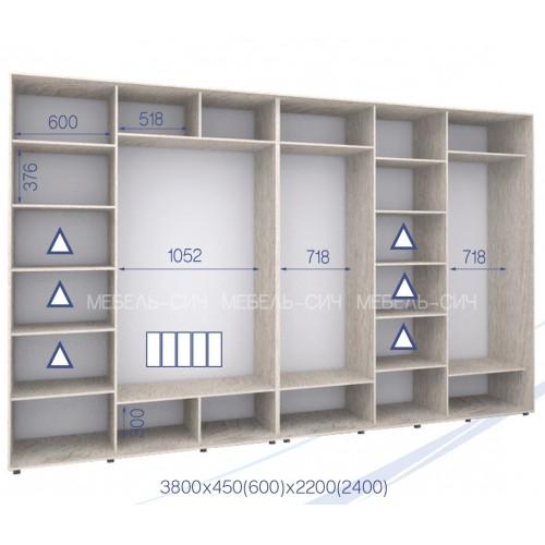 Шкаф купе HK-380/45/2400-02-5F (Стандарт) - Мебельный интернет-магазин Sensey-mebel приобрести