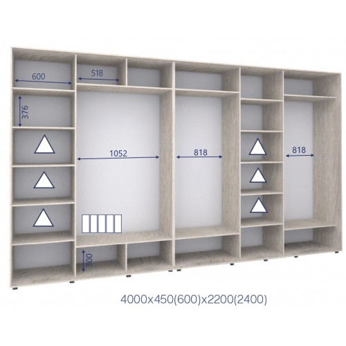 Шкаф купе HK-400/60/2200-02-5F (Стандарт) - Мебельный интернет-магазин Sensey-mebel приобрести